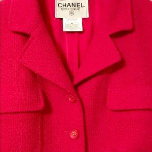 Chanel Fuscia Boucle Wool Jacket Very Rare Edition